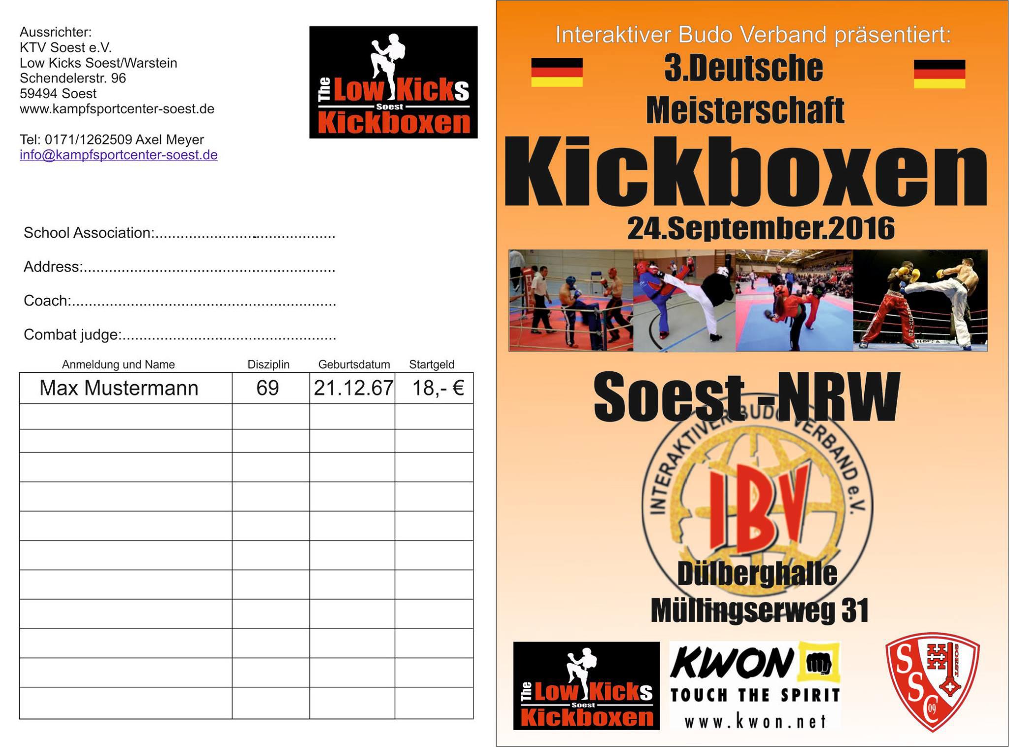 3 Deutsche Meisterschaft Kickboxen 2016 Startkarte