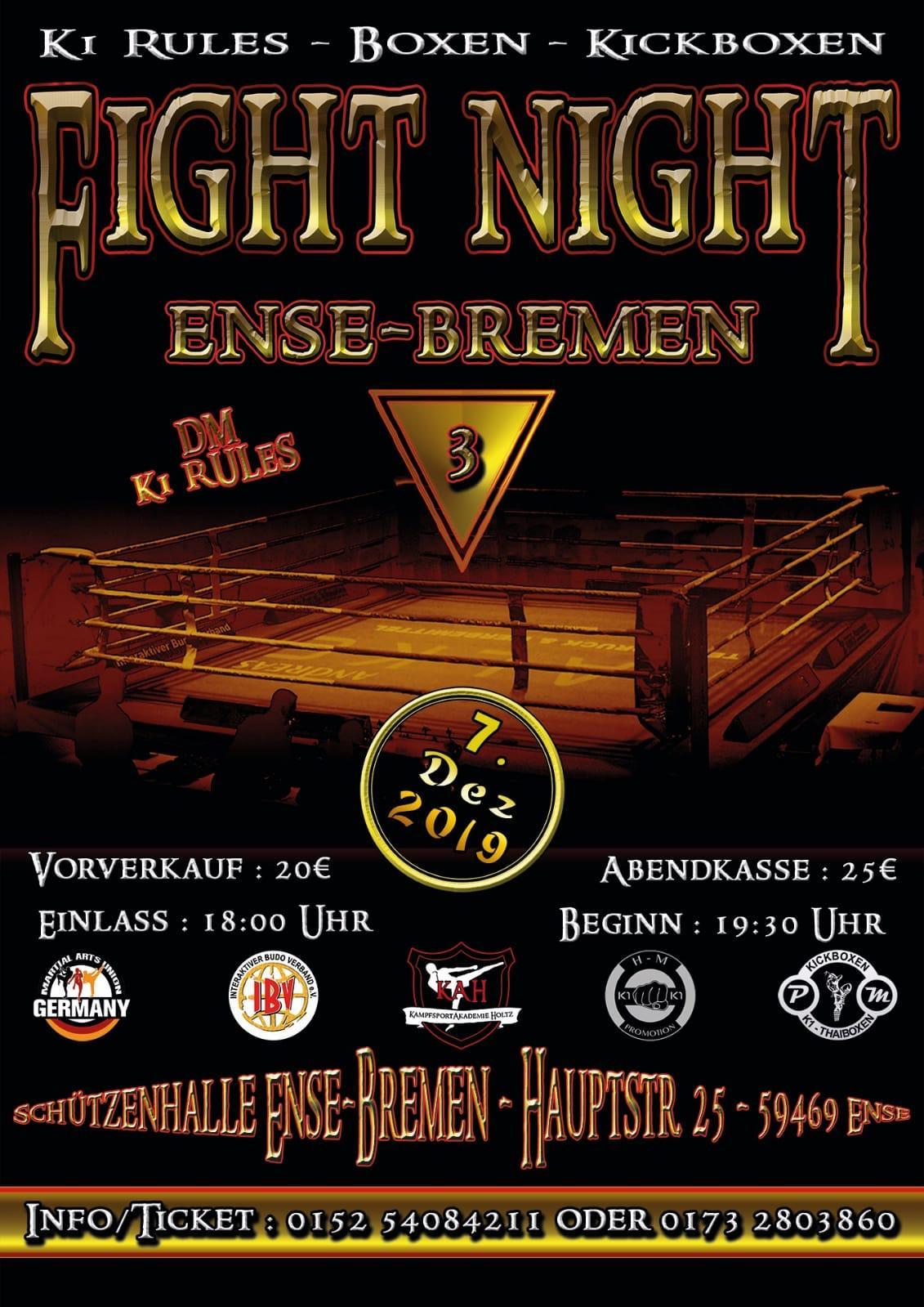 3te Fight Night in Ense-Bremen im Dezember 2019