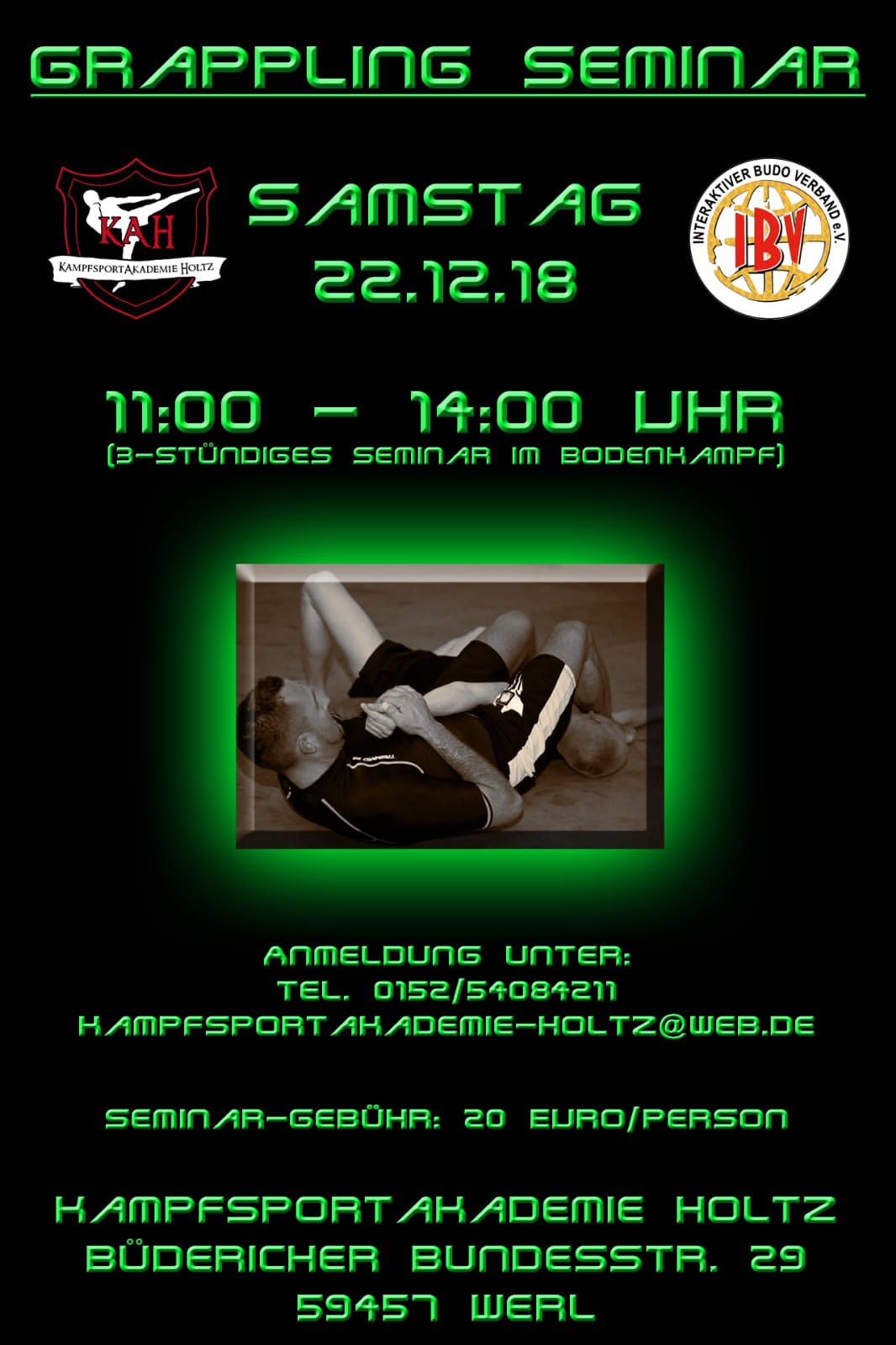 Grappling Seminar am 22.12.2018 in der Kampfsport-Akademie Holtz