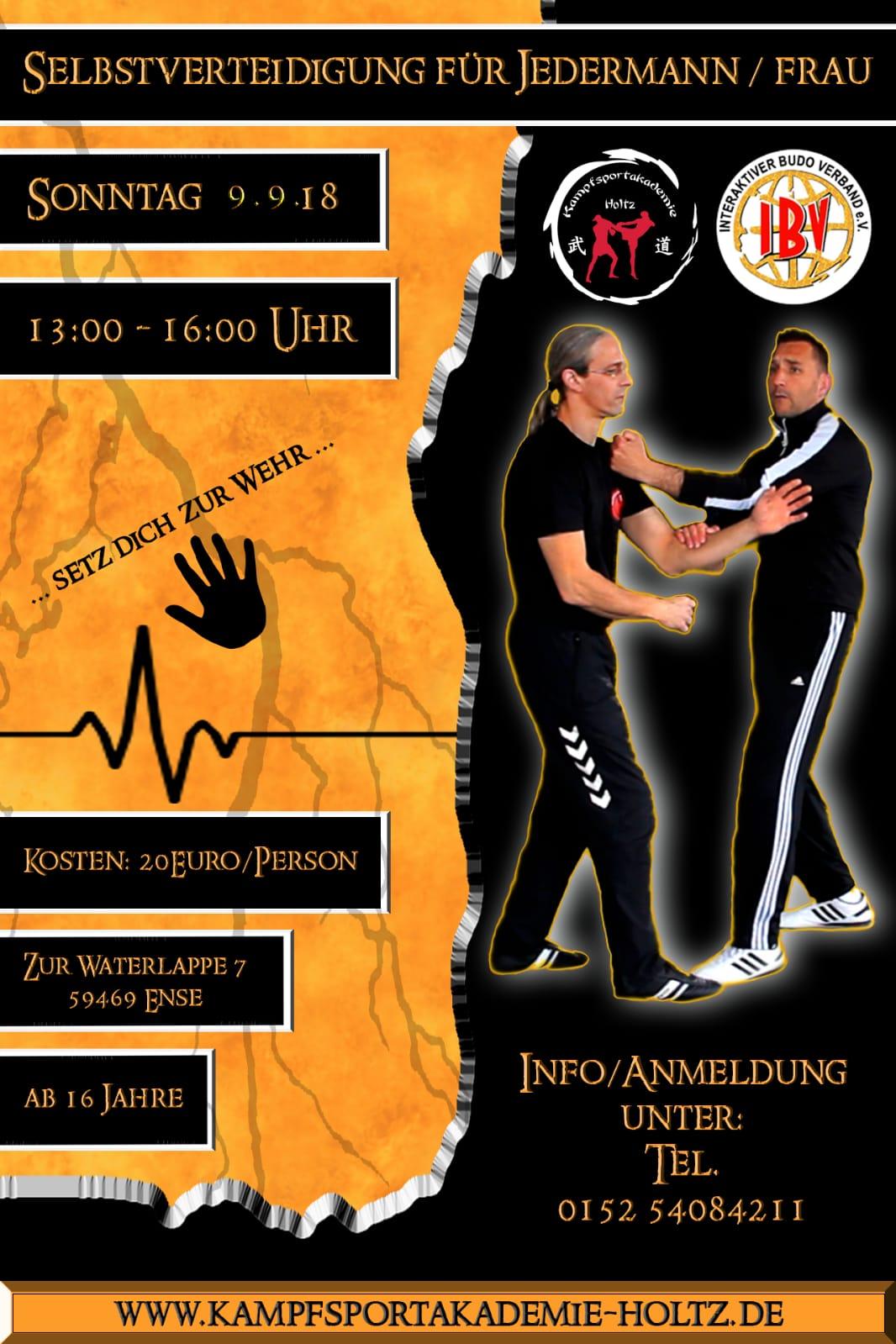 Selbstverteidigung für Jedermannfrau in der Kampfsportakademie Holtz in Ense am 09.09.2018