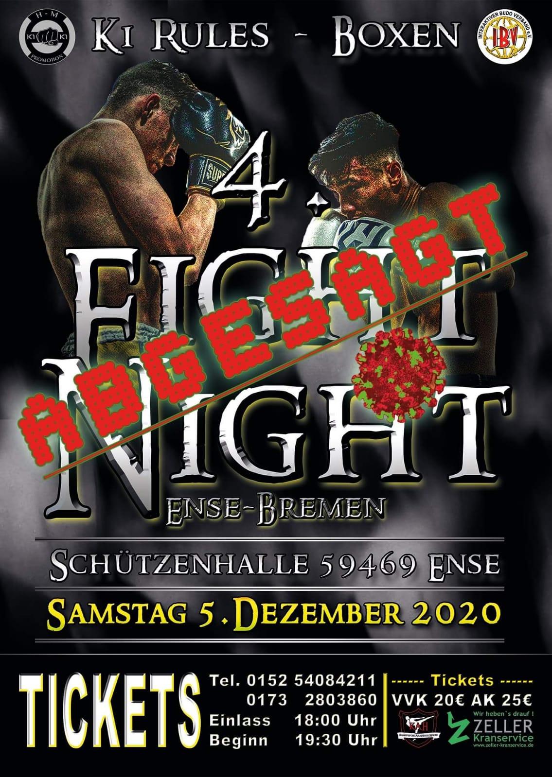 4te Fight Night in Ense im Dezember 2020 wegen Corona abgesagt