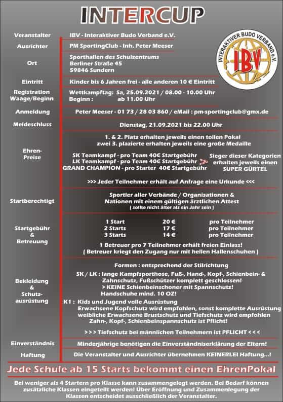 InterCup 25.09.2021 in Sundern - Veranstaltungsinformationen