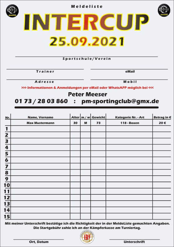 InterCup 25.09.2021 in Sundern - Meldeliste
